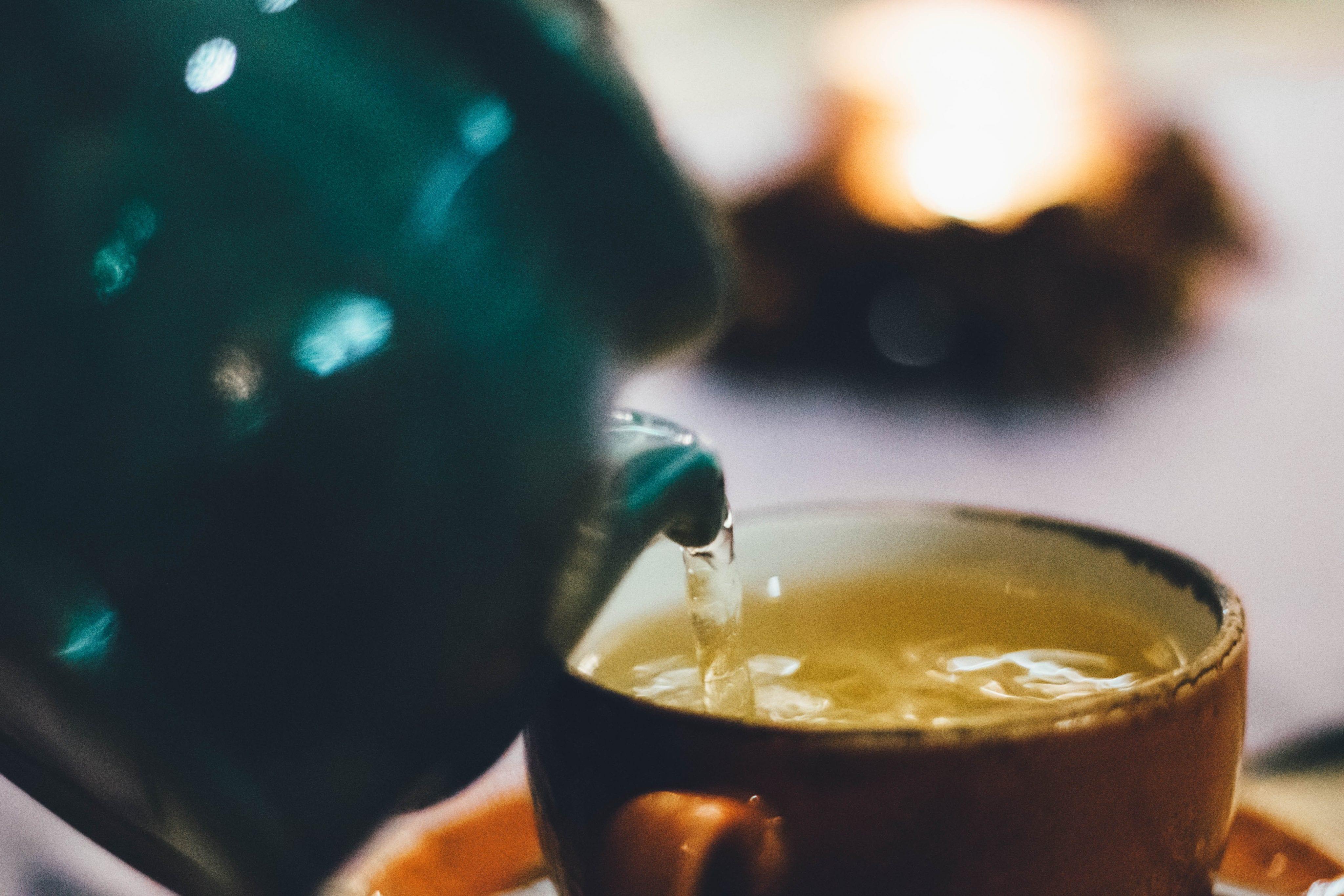 brewing tea in a tea pot