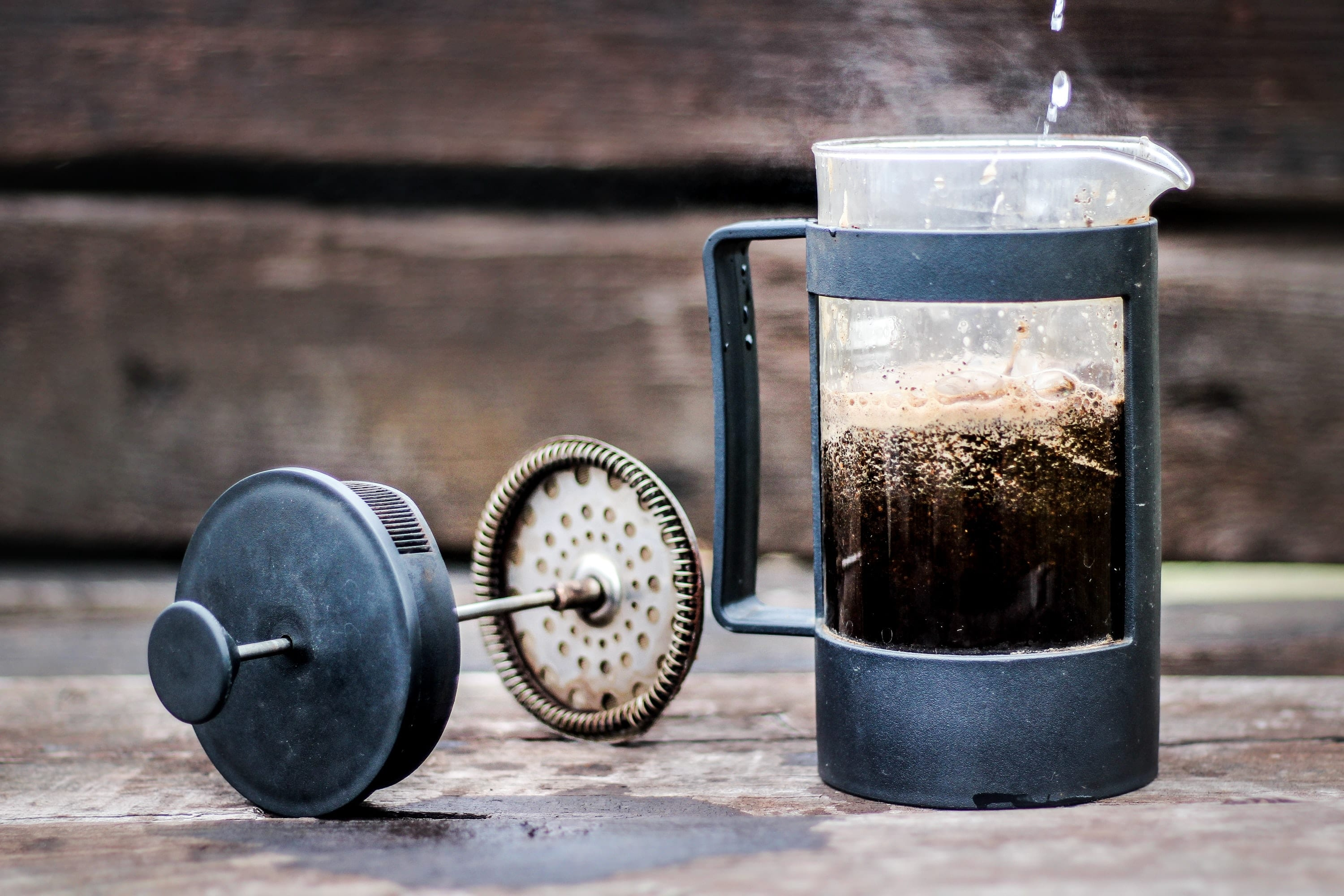 making tea in a french press