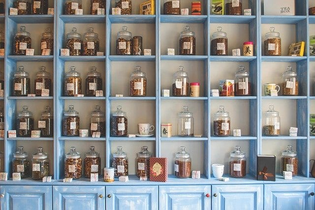 Shelf with different types of tea for tea lovers
