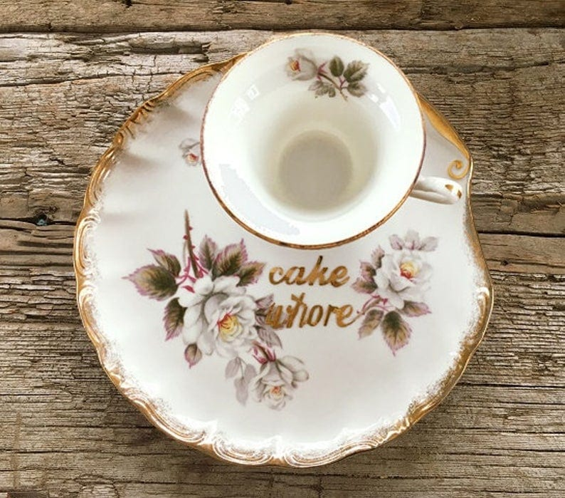 NSFW Cake Whore ornate teacup